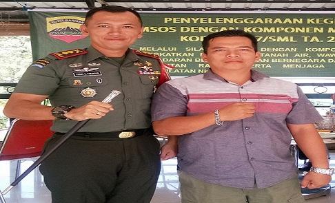 Komandan Kodim 0207-Simalungun Letkol Frans Kishin Panjaitan Bersama Pimred Kliktodaynews Bangun Pasaribu
