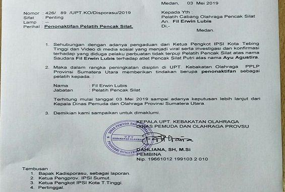 Surat Penonaktifan Pelatih Pencak Silat dari Dinas Pemuda dan Olah Raga Provsu