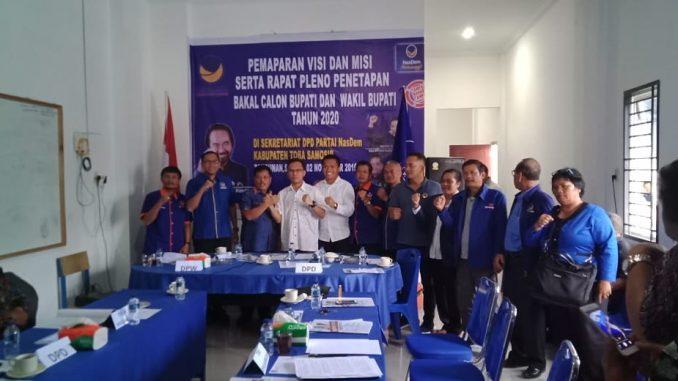 DPD Partai Nasdem Tobasa mengadakan rapat pleno Sabtu,(2/11/2019) di Tambunan, Toba Samosir membahas tentang pemaparan visi dan misi serta penetapan bakal calon Bupati dan wakil bupati untuk tahun 2020.