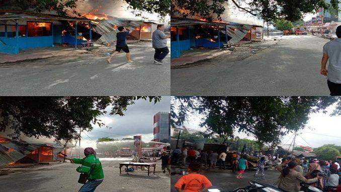 Puluhan Kios Milik PDPHJ Pematangsiantar Hangus Terbakar, Lokasi Depan Stasiun Kereta api