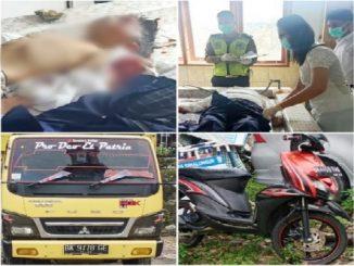 Pengendara sepeda motor BK 4455 TAS, Maslam Samosir (73) berboncengan dengan cucunya Air Langga Wisnu (11) warga Parapat Kecamatan Girsang Sipangan Bolon Kabupaten Simalungun tewas