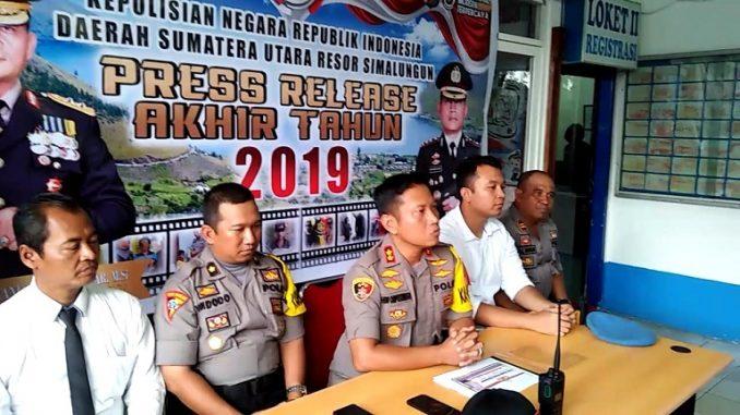 Press Release akhir tahun 2019 Tahun 2019, di kantor Satlantas Polres Simalungun jalan Sang Naualuh kota Pematang Siantar, Selasa, (31/12) Pukul 16.00 Wib
