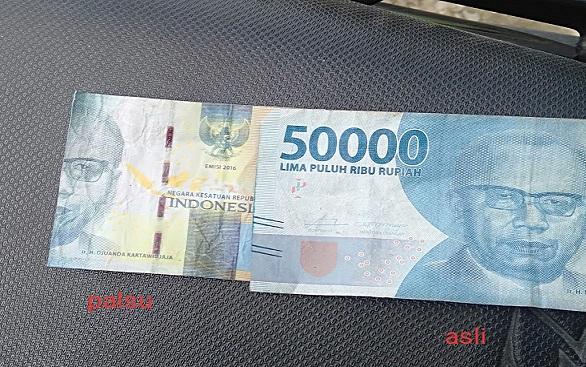 Di Tiga Balata, Uang Kertas Pecahan Rp 50.000,- Palsu Beredar Saat Ini
