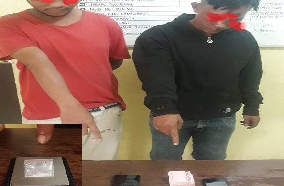 Kedua tersangka diamankan di JalanRambung Merah, Gang Mesir, Nagori Karang Bangun, Kecamatan Siantar, Kabupaten Simalungun, Senin (03/02/2020)