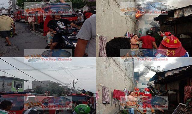 Kebakaran melanda permukiman warga di Jalan Jawa, GG.Sewu,Kelurahan Melayu, Kecamatann Siantar Utara (8/2/2020)