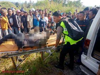 Jenazah Harifat Simamora Saat Dievakuasi Pihak Kepolisian dari Lokasi Penemuan