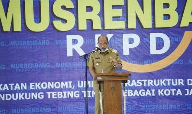 Walikota Tebing Tinggi, Ir. H. Umar Zunaidi Hasibuan, MM membuka Musrenbang RKPD Tahun 2021 di Gedung Balai Kartini Baru