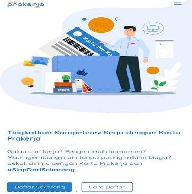 Screenshoot Halaman Depan daftar online kartu pra kerja
