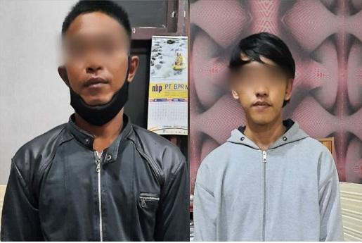 2 tersangka diduga melakukan tindak pidana pencurian dengan pemberatan atau pencurian HP yang terjadi di Mesjid Agung Sergai, Dusun 1 Firdaus, Kec.Sei Rampah, Kab. Serdang Bedagai.