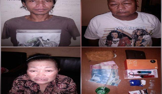 Ayah,Ibu dan Anak yang diduga mengedarkan narkoba jenis sabu di kediamannya, Dusun II, Desa Pematang Setrak, Kec. Teluk Mengkudu, Kab.Sergai, Kamis (15/7/2020) sekitar pukul 14.00 Wib.