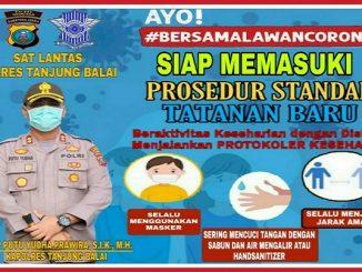 Sat Lantas Polres Tanjung Balai dalam upaya menindak lanjuti kebijakan Kapolri, Berikan penerangan tentang penanganan pencegahan penyebaran virus corona,