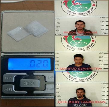 3 pria warga Kelurahan Seribu Dolok Kecamatan Silimakuta Kabupaten Simalungun Provinsi Sumatera Utara di bekuk Tim Opsnal Satres Narkoba Polres Simalungun, Jumat (07/08/2020) sekira pukul 08.00 WIB