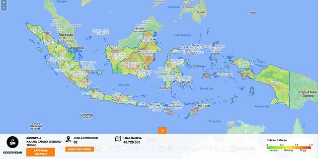 Foto : Analisis InaRISK wilayah yang berpotensi terhadap bahaya kekeringan di Indonesia. (BNPB)