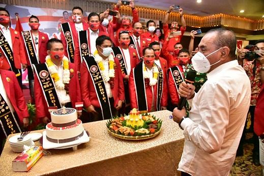 Gubernur Edy saat menghadiri perayaan Hari Ulang Tahun (HUT) ke-1 PBB di Hotel Emerald Garden, Jalan Yos Sudarso Medan, Jumat (16/10).