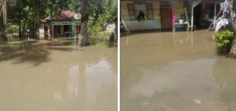Ratusan Rumah Warga di Kecamatan Lima Puluh Pesisir Kabupaten Batu Bara Terendam Banjir dari Luapan Sungai,