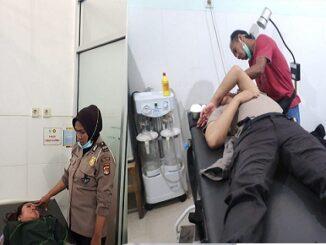 1 orang anggota Polwan bernama AIPDA Sri Yeni dan seorang anggota Patmor Bripda M Heri Sanjaya dilarikan ke Puskesmas Paruga