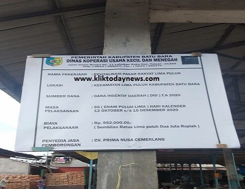 Plank proyek revitalisasi pasar rakyat lima puluh