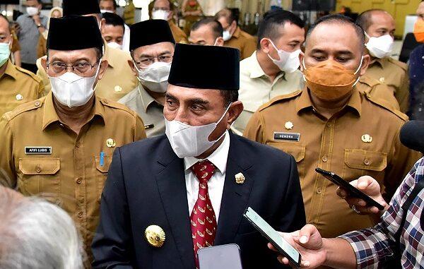 Gubernur Sumatera Utara (Sumut) Edy Rahmayadi melantik 3 Pejabat Pimpinan Tinggi Pratama (Eselon II) di lingkungan Pemerintah Provinsi (Pemprov) Sumut, Selasa (3/11).