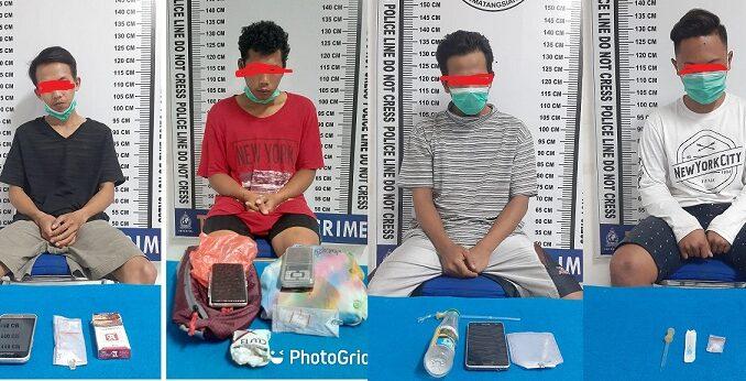 Sat Res Narkoba Polres Pematang Siantar bekuk Empat (4) pelaku Tindak Pidana Penyalahguna Narkotika dari empat tempat berbeda.