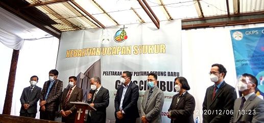 Gelar acara Ucapan Syukur Peletakan Batu Pertama Gedung Baru Gereja GKPS Cibubur. Minggu, (06/12/20).