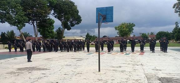 Polres Simalungun Terima Penambahan Personil BKO Brimob Batalyon-B Poldasu, Minggu (06/12/2020)