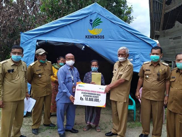 PT INALUM Bantu Korban Kebakaran di Desa Pardomuan Nauli dan Desa Oppu Raja Hutapea Timur, Senin (07/12/2020).