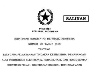 Pemerintah telah menerbitkan Peraturan Pemerintah (PP) Nomor 70 Tahun 2020