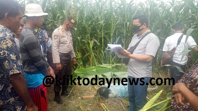 NURIAH Pardede (54) ditemukan meninggal dunia di Perladangan Jangung milik salah seorang warga, Kamis (07/01/2021)