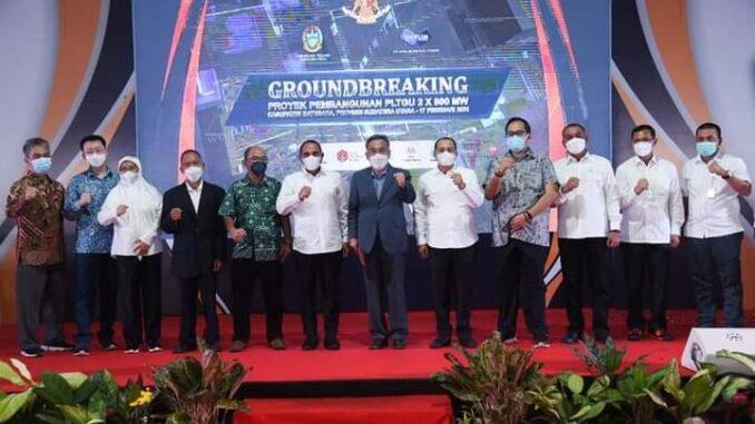 Peletakan Batu Pertama secara serimonial atas pembangunan PLTGU oleh Gubernur Sumatera Utara Edy Rahmayadi dan Bupati Batu Bara Ir H Zahir MAP.