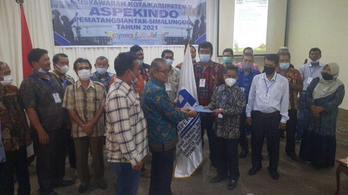 Musyawarah Kota/Kabupaten (Muskotkab) V Asosiasi Pengusaha Konstruksi Indonesia (Aspekindo) Kota Pematangsiantar-Kabupaten Simalungun , Senin (22/3/2021) pagi.