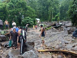 Foto : Banjir bandang menerjang wilayah Namitung, Kecamatan Siau Timur, Kabupaten Kepulauan Siau Tagulandang Biaro (Sitaro), Provinsi Sulawesi Utara, pada Senin (29/3). (BPBD Kabupaten Sitaro)
