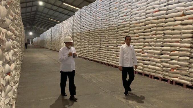 Presiden Jokowi didampingi Dirut Perum Bulog Budi Waseso saat meninjau Gudang Bulog, Maret tahun lalu. (Foto: Dokumentasi BPMI Setpres)