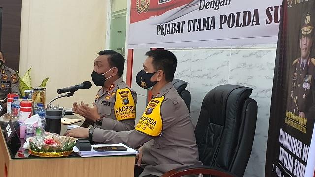 Kapolda Sumut Irjen Pol RZ Panca Putra, saat coffee morning bersama Kadinkes Sumut, Kepala BPBD, serta PJU Poldasu di Mapolda Sumut, Sabtu (20/3).