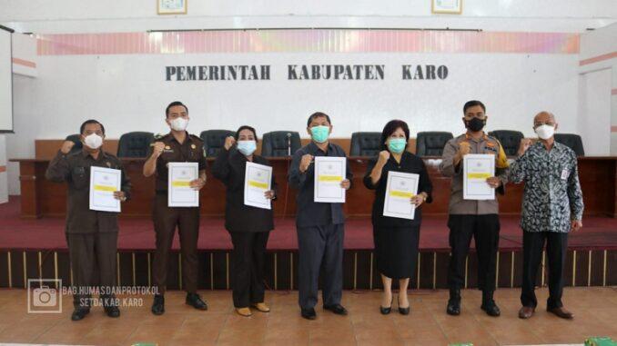 Bupati Karo Terkelin Brahmana, SH,MH bersama Wakil Bupati Karo Cory S Sebayang dan unsur Forkopimda Kab. Karo sampaikan SPT Tahunan 2020.foto terkelinbukit