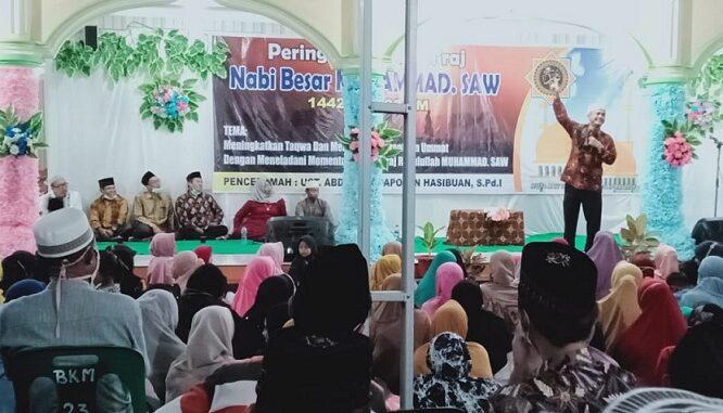 Acara peringatan Isra Isra' Mi'raj Nabi Muhammad SAW yang digelar di Masjid besar Al-Iklas Nagori Bahtobu di Huta 1 Nagori Bahtobu, Kecamatan Dolok Batu Nanggar, Kabupaten Simalungun, Sabtu (03/04/2021), sekira pukul 20.00 wib