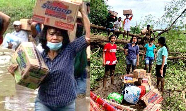 Istri Bupati Sumba Timur, Merliaty Simanjuntak, Berjibaku Selamatkan Korban Banjir.
