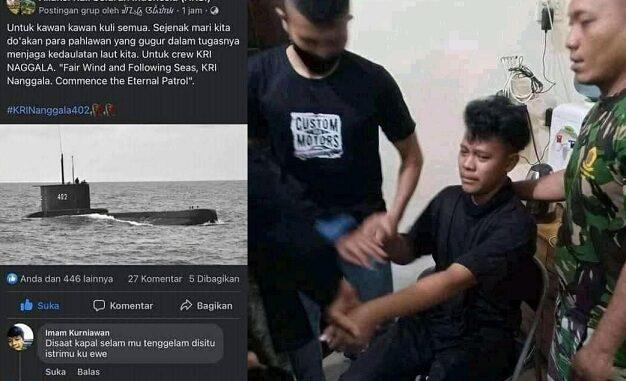 Diciduk TNI Gara-Gara Komen Negatif Soal Nanggala, Pria Ini Ngaku FB