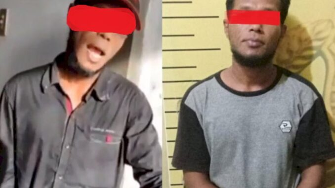 Kiri: Tersangka KR sebelum ditangkap, Kanan : Sesudah Ditangkap dan saat diamankan di Mapolsek Medan Timur.
